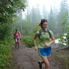 Runners enjoying the natural beauty of the Temperance River during the Moose Mountain Marathon.