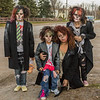 Zombie Walk in Moosonee 2013 October 26th. Fake oil painting of Mary Chakasim and her daughters in costume. Highly stylized.