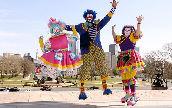 Mott Campus Clowns Visit LOVE Park, Top of Art Museum Steps, Rocky Statue, Mayor Rizzo Statue in Philadelphia