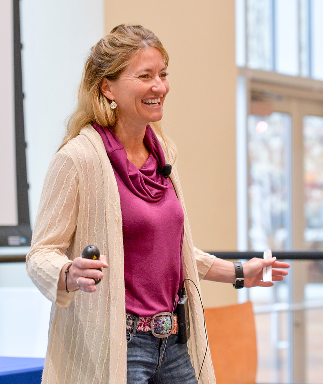 Justin Sheely | The Sheridan Press<br /> Keynote speaker Shelli Johnson speaks at dinner during the 2017 FAB Women's Conference Friday at the Sheridan College Whitney Atrium. Tempe Murphy was named this year's Woman of the Year. Nominees Carrie Sisson, Sonja Caywood and Marta Ostler were honored at the event.