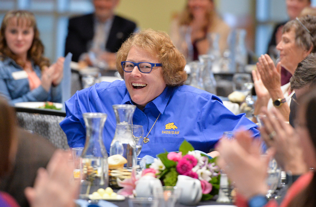 Justin Sheely | The Sheridan Press<br /> Tempe Murphy reacts as she is named Woman of the Year during the 2017 FAB Women's Conference Friday at the Sheridan College Whitney Atrium. Murphy was honored along with nominees Carrie Sisson, Sonja Caywood and Marta Ostler.