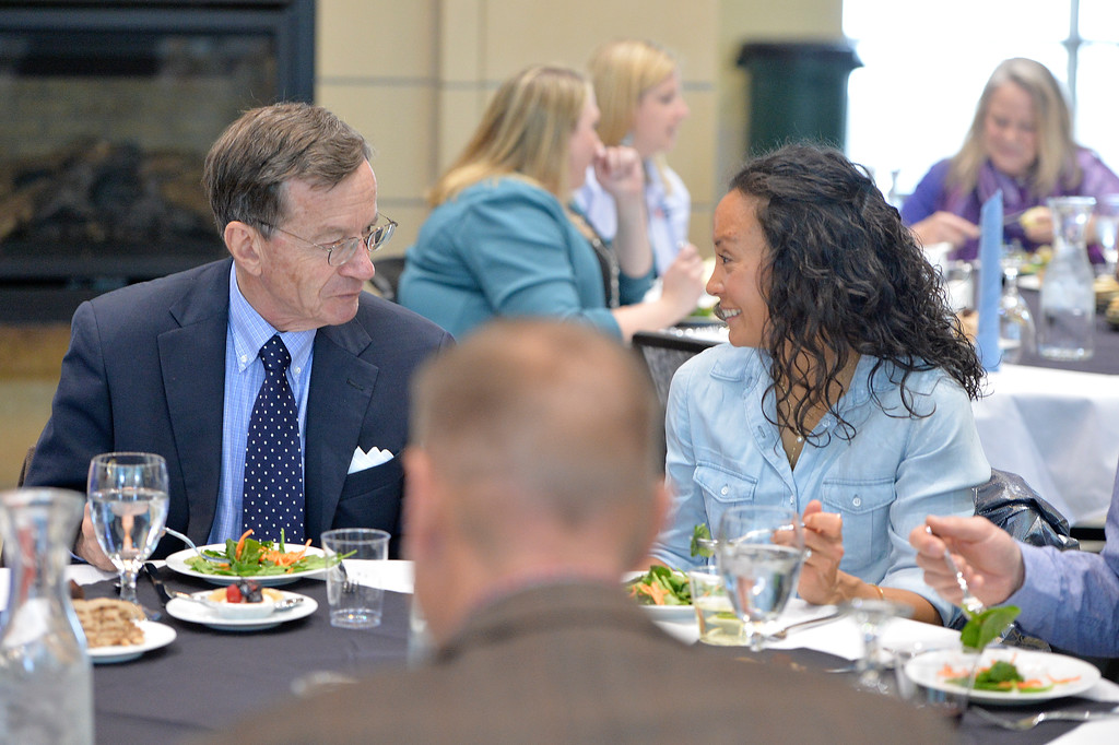 Justin Sheely | The Sheridan Press<br /> Mark Murphy and Melissa Mowry talk at the dinner table during the 2017 FAB Women's Conference Friday at the Sheridan College Whitney Atrium. Tempe Murphy was named this year's Woman of the Year. Nominees Carrie Sisson, Sonja Caywood and Marta Ostler were honored at the event.