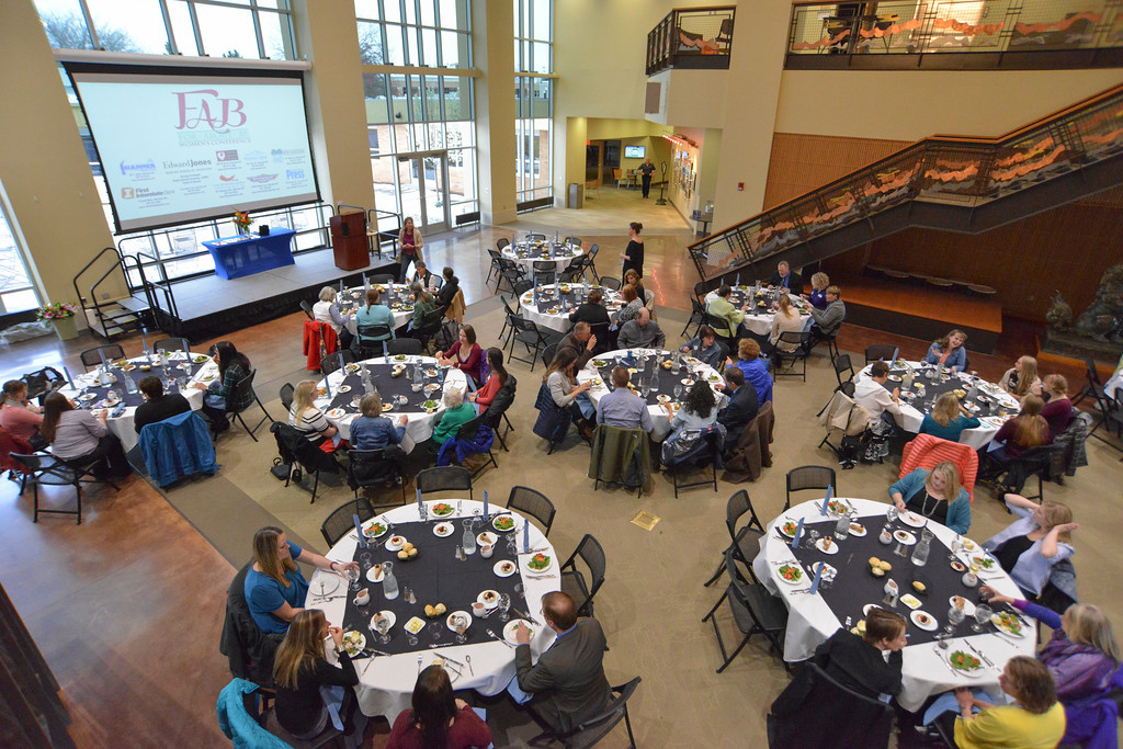 Justin Sheely   The Sheridan Press<br /> Guests and conference participants mingle at the dinner event during the 2017 FAB Women's Conference Friday at the Sheridan College Whitney Atrium. Tempe Murphy was named this year's Woman of the Year. Nominees Carrie Sisson, Sonja Caywood and Marta Ostler were honored at the event.