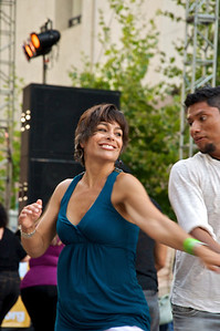 Dancing at the Salsa Stage.