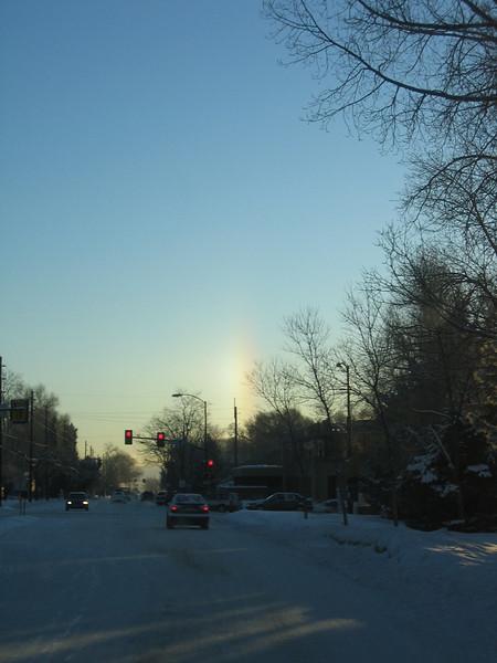 Sun pillar - snowbow