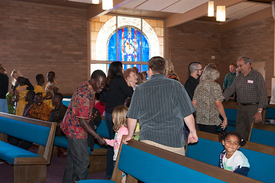 I love how in the beginning of the service everyone gets up and walks around to greet others.