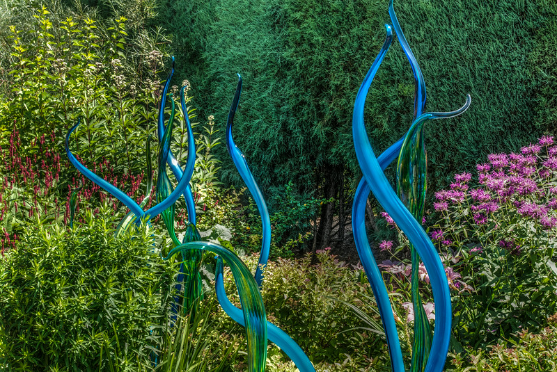 Blue Tubes in Green