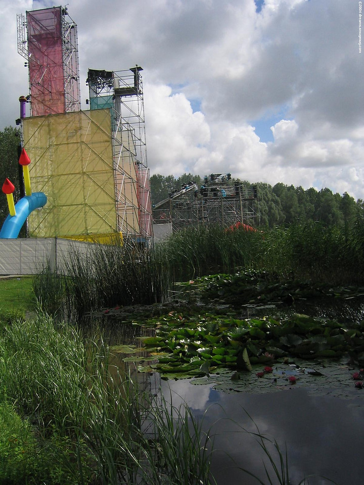 Back of main stage with water lillies
