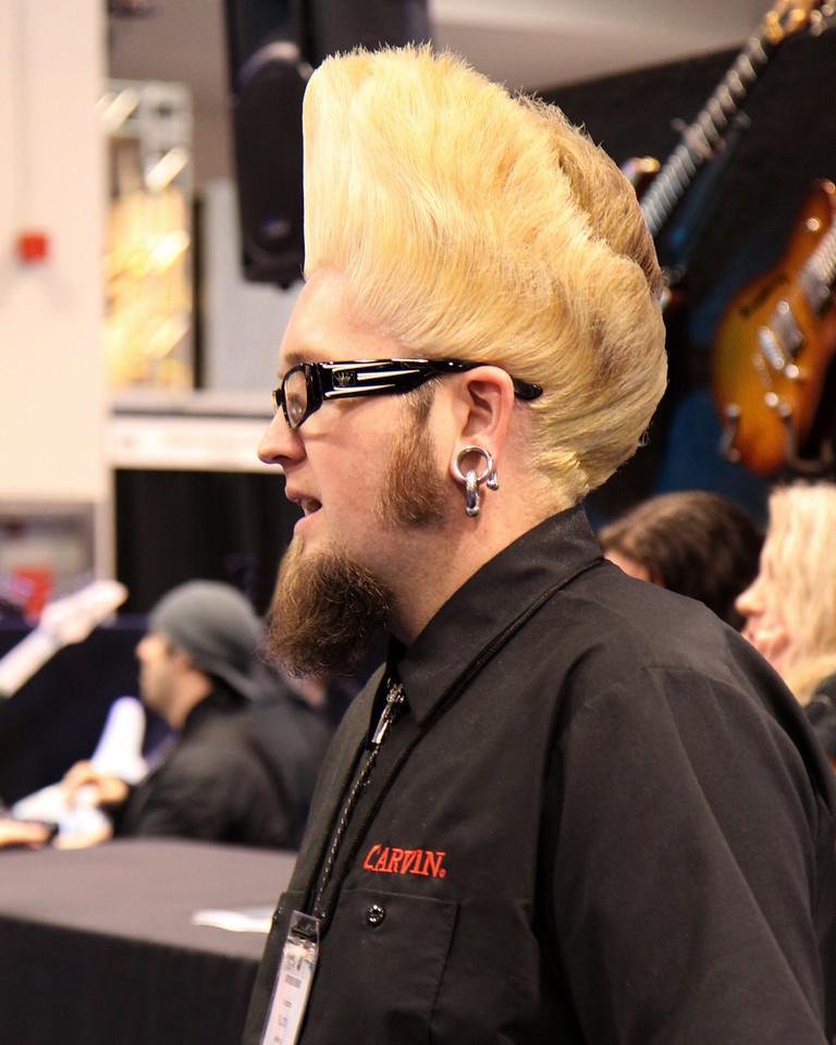 Carvin rep.  Gotta love the hair...
