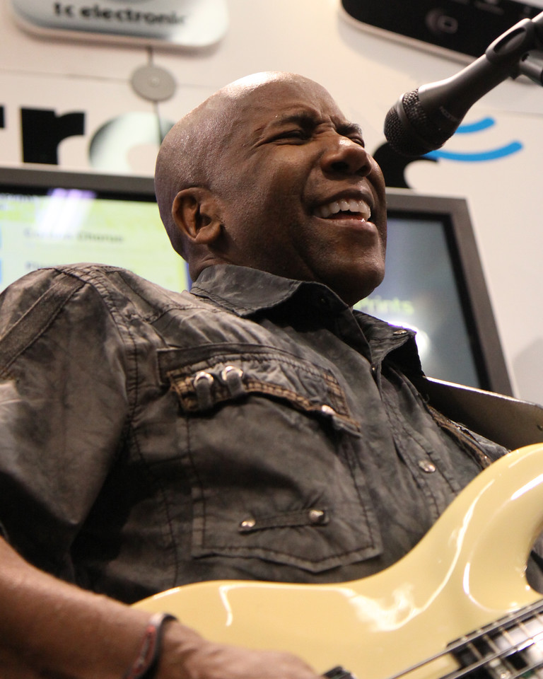 Nathan East at TC Electronic booth.
