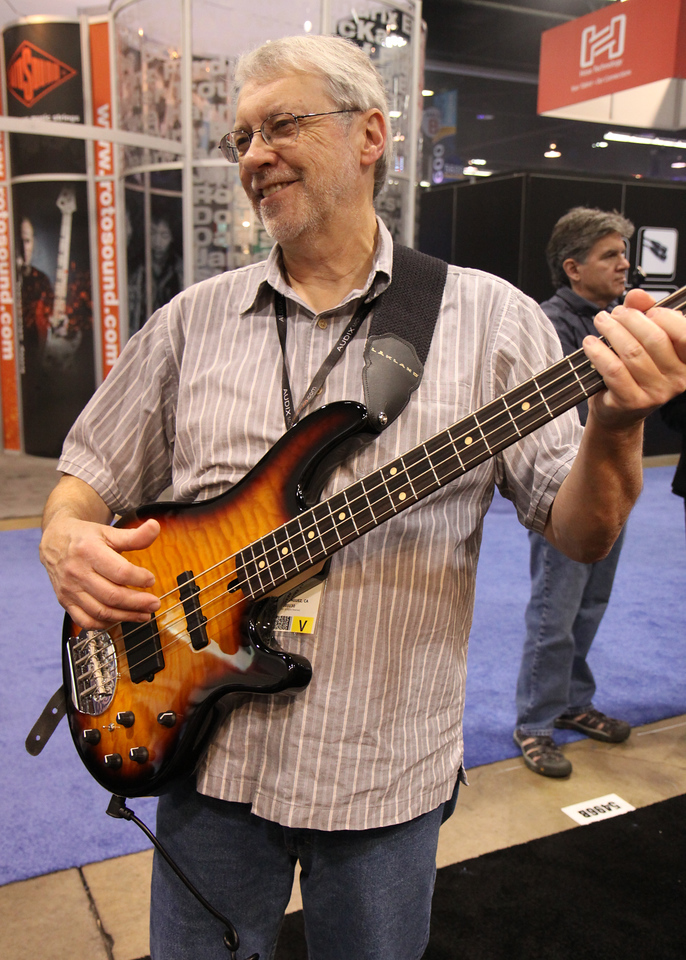 Mark and the bass he almost bought at Lakland booth.