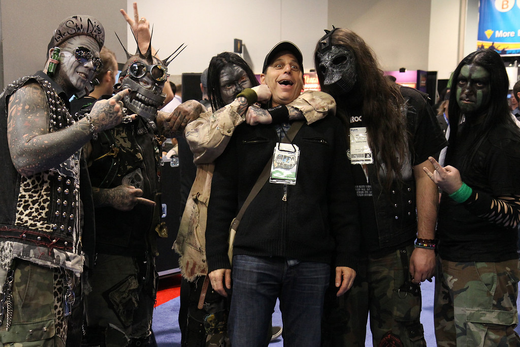 Blue Felix harassing a NAMM attendee.  Gotta love those silly guys!  Especially Iron Choppers on the left.