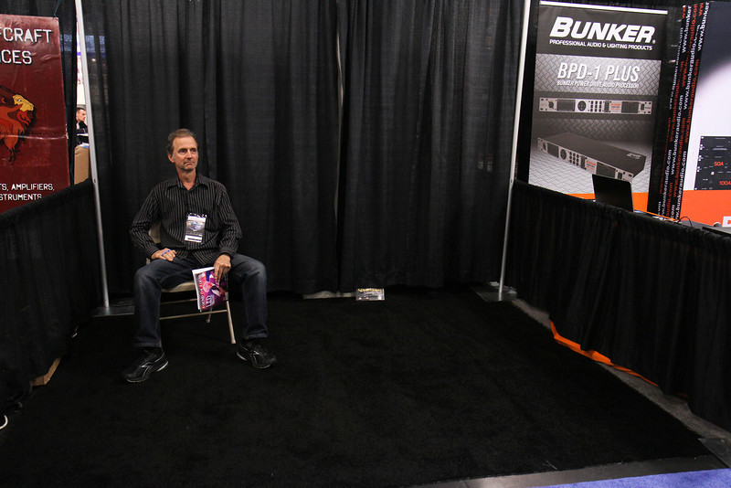 Chris' NAMM booth.  He has low overhead.