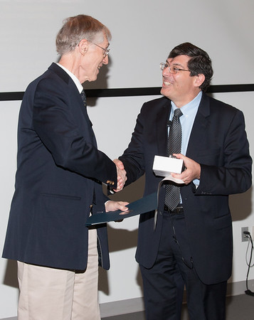 John Mather with Center Director Chris Scolese -- NASA/GSFC Career Celebration for John Mather (40 years), Floyd Stecker (50 years), and Peter Serlemitsos (55 years), Greenbelt, Nov 17, 2016.
