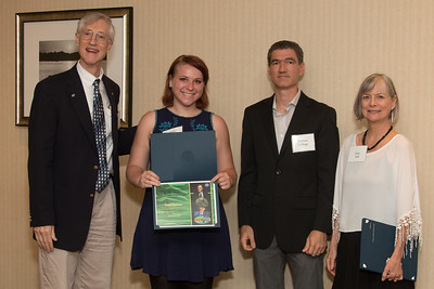 "Awardee Violet Replicon  with John Mather, Matthew Collinge (Maryland Space Grant Consortium), and Janie Nall (GSFC) -- An award luncheon, ""Dr. John Mather Nobel Scholars Program Award"", as part of the National Council of Space Grant Directors and the Maryland Space Grant Consortium, Greenbelt, MD July 28, 2017"