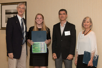 "Awardee Allison Fox with John Mather, Matthew Collinge (Maryland Space Grant Consortium), and Janie Nall (GSFC) -- An award luncheon, ""Dr. John Mather Nobel Scholars Program Award"", as part of the National Council of Space Grant Directors and the Maryland Space Grant Consortium, Greenbelt, MD July 28, 2017"