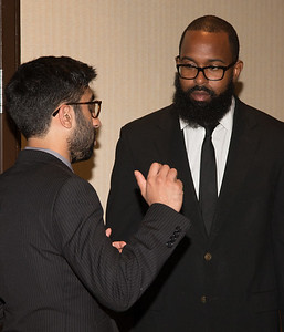 """Jalal-ud-din Butt with Emmanuel Cephas, Jr (a prior awardee) at right -- An award luncheon, """"Dr. John Mather Nobel Scholars Program Award"""", as part of the National Council of Space Grant Directors and the Maryland Space Grant Consortium, Greenbelt, MD July 28, 2017"""