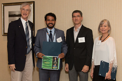 "Awardee Jitin Krishnan with John Mather, Matthew Collinge (Maryland Space Grant Consortium), and Janie Nall (GSFC) -- An award luncheon, ""Dr. John Mather Nobel Scholars Program Award"", as part of the National Council of Space Grant Directors and the Maryland Space Grant Consortium, Greenbelt, MD July 28, 2017"