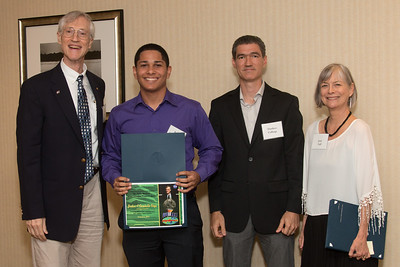 "Awardee Jordan Caraballo-Vega with John Mather, Matthew Collinge (Maryland Space Grant Consortium), and Janie Nall (GSFC) -- An award luncheon, ""Dr. John Mather Nobel Scholars Program Award"", as part of the National Council of Space Grant Directors and the Maryland Space Grant Consortium, Greenbelt, MD July 28, 2017"