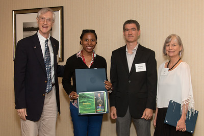 "Awardee Jessica Fayne with John Mather, Matthew Collinge (Maryland Space Grant Consortium), and Janie Nall (GSFC) -- An award luncheon, ""Dr. John Mather Nobel Scholars Program Award"", as part of the National Council of Space Grant Directors and the Maryland Space Grant Consortium, Greenbelt, MD July 28, 2017"
