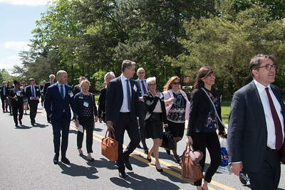 Other dignitaries and security personnel in the procession. -- King Carl XVI Gustaf of Sweden visited NASA/Goddard on May 3, 2017.  These photos show his short walking procession from viewing the Hyperwall in Building 28 to the clean room facility in Building 29.