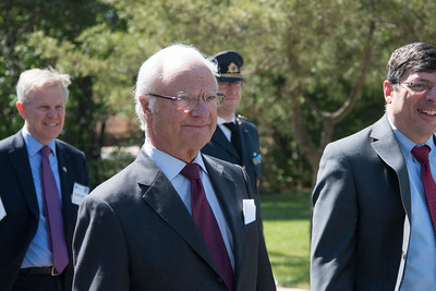 King Carl XVI Gustaf of Sweden visited NASA/Goddard on May 3, 2017.  These photos show his short walking procession from viewing the Hyperwall in Building 28 to the clean room facility in Building 29.