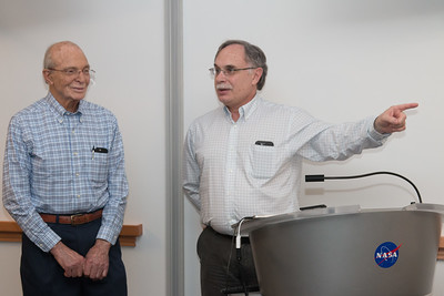 Rob Petre (Lab Chief for X-ray Astrophysics Laboratory) speaks as Peter looks on -- Retirement party for Peter Serlemitsos from NASA/GSFC after 55 years. -- April 27, 2017 -- NASA/Goddard Space Flight Center, Greenbelt, MD