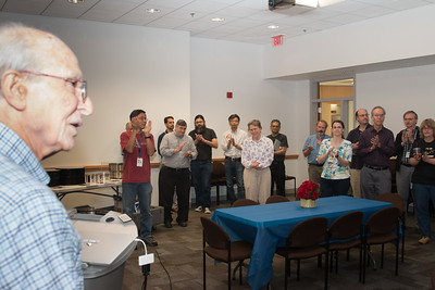 Peter acknowledges applause after accepting retirement certificate -- Retirement party for Peter Serlemitsos from NASA/GSFC after 55 years. -- April 27, 2017 -- NASA/Goddard Space Flight Center, Greenbelt, MD
