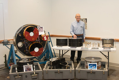 Peter poses with a collection of X-ray mirrors from various missions from across Peter's career --Retirement party for Peter Serlemitsos from NASA/GSFC after 55 years. -- April 27, 2017 -- NASA/Goddard Space Flight Center, Greenbelt, MD