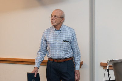 Peter speaks to assembled Astrophysics Science DIvision crowd -- Retirement party for Peter Serlemitsos from NASA/GSFC after 55 years. -- April 27, 2017 -- NASA/Goddard Space Flight Center, Greenbelt, MD