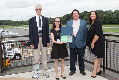 "Awardee Gabrielle Engelmann-Suissa with John Mather, Eric Day (National Space Grant Foundation), and Raquel Marshall (NASA/GSFC Education Office) -- An award luncheon, ""Dr. John Mather Nobel Scholars Program Award"", as part of the National Space Grant Foundation. College Park Aviation Museum, College Park, MD, August 3, 2018."