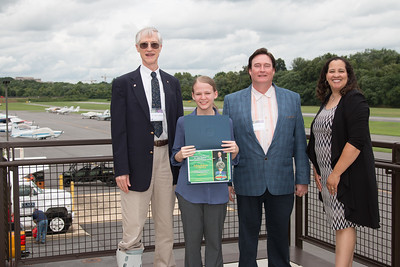 "Awardee Kathryn Wolfinger with John Mather, Eric Day (National Space Grant Foundation), and Raquel Marshall (NASA/GSFC Education Office) -- An award luncheon, ""Dr. John Mather Nobel Scholars Program Award"", as part of the National Space Grant Foundation. College Park Aviation Museum, College Park, MD, August 3, 2018."