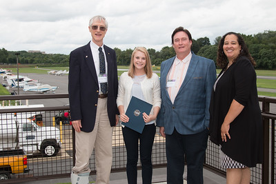 "Awardee Alyson Barker with John Mather, Eric Day (National Space Grant Foundation), and Raquel Marshall (NASA/GSFC Education Office) -- An award luncheon, ""Dr. John Mather Nobel Scholars Program Award"", as part of the National Space Grant Foundation. College Park Aviation Museum, College Park, MD, August 3, 2018."