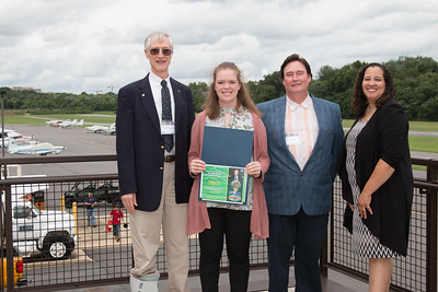 "Awardee Madeline Roach with John Mather, Eric Day (National Space Grant Foundation), and Raquel Marshall (NASA/GSFC Education Office) -- An award luncheon, ""Dr. John Mather Nobel Scholars Program Award"", as part of the National Space Grant Foundation. College Park Aviation Museum, College Park, MD, August 3, 2018."