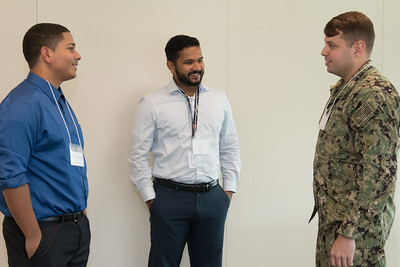 "Jordan Caraballo-Vega (2017 awardee) and Jitin Krishnan1 (2017 awardee), with Joel Chapman (2018 awardee) -- An award luncheon, ""Dr. John Mather Nobel Scholars Program Award"", as part of the National Space Grant Foundation. College Park Aviation Museum, College Park, MD, August 3, 2018."