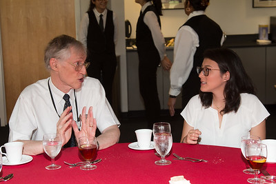 "Stela Ishitani Silva chats with John Mather -- An award luncheon, ""Dr. John Mather Nobel Scholars Program Award"", as part of the National Space Grant Foundation. College Park Aviation Museum, College Park, MD, August 2, 2019."
