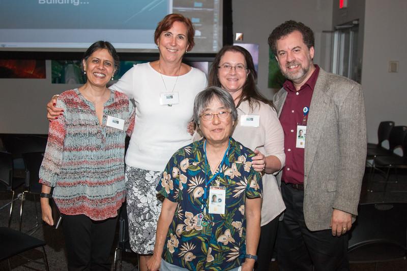 Anju Basu, Nancy Laubenthal, Teresa Sheets, David Friedlander, with Eunice Eng in front -- CGRO (Compton Gamma Ray Observatory) 25th Anniversary of launch party at NASA/Goddard Space Flight Center, Greenbelt, MD, June 2016
