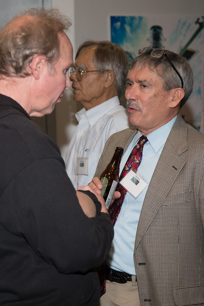John Mitchell (GSFC) with Jim Ryan (UNH) -- CGRO (Compton Gamma Ray Observatory) 25th Anniversary of launch party at NASA/Goddard Space Flight Center, Greenbelt, MD, June 2016