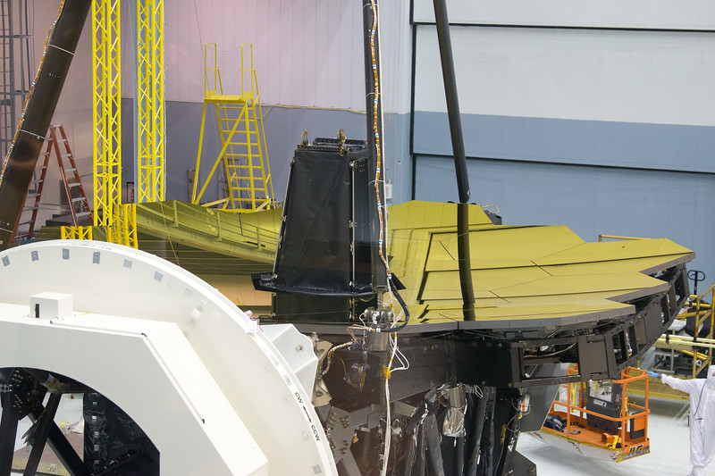 James Webb Space Telescope -- the uncovering of the assembled primary mirror was completed today (April 26, 2016), Bldg 29 cleanroom, NASA/Goddard Space Flight Center