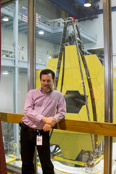 David Friedlander (photo by Divya Pereira) -- The James Webb Space Telescope primary mirror turns to face the observation window, Building 29 cleanroom, NASA/Goddard Space Flight Center, Greenbelt, MD, May 4, 2016