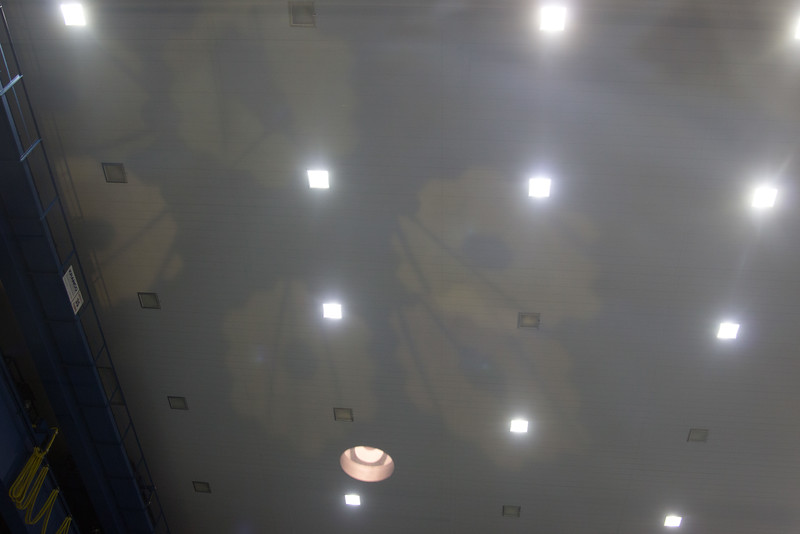 The primary mirror reflected onto the ceiling of the cleanroom -- James Webb Space Telescope -- the uncovering of the assembled primary mirror was completed today (April 26, 2016), Bldg 29 cleanroom, NASA/Goddard Space Flight Center
