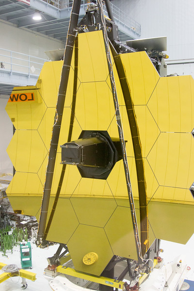 The James Webb Space Telescope primary mirror turns to face the observation window, Building 29 cleanroom, NASA/Goddard Space Flight Center, Greenbelt, MD, May 4, 2016