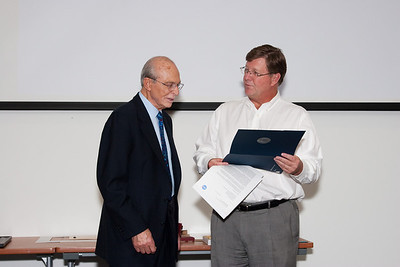Peter and GSFC Center Director Rob Strain -- Celebration of Peter Serlemitsos' 50 years at NASA/Goddard Space Flight Center (Sept 2011)