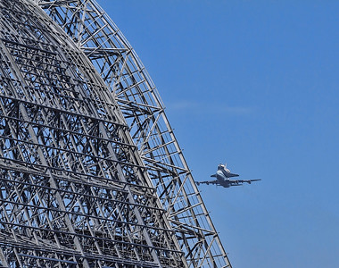 NASA Space Shuttle Endeavour Flyover Moffett Field