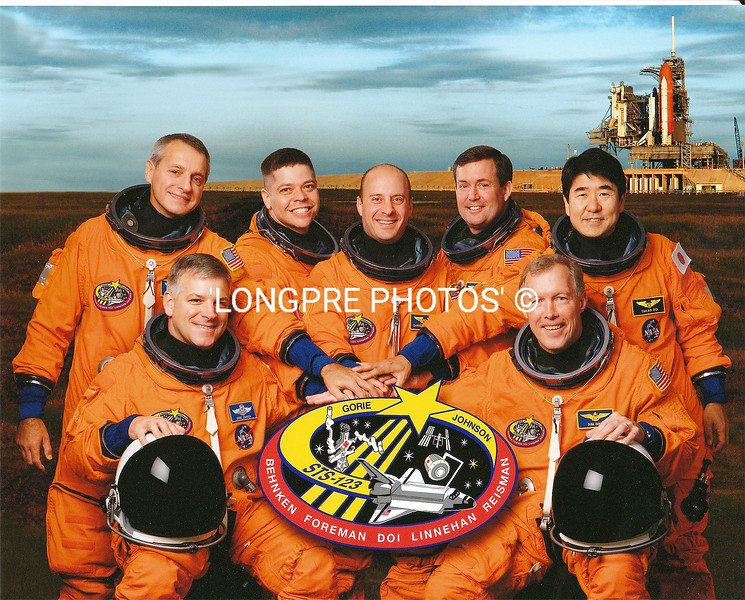 STS-123  Mission crew. My friend Rick Linnehan is far left in back.  This is 4th mission as astronaut.