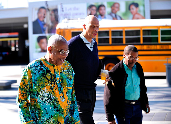 "LOS ANGELES CA: THE 20TH ANNUAL PAN AFRICAN FILM FESTIVAL presents NBA Hall of Famer KAREEM ABDUL-JABAR presents his film ""ON The Shoulders of Giants at Student Fest.(Photo by Valerie Goodloe)"