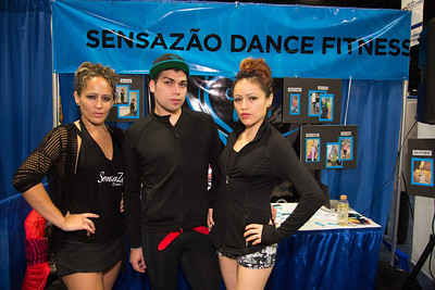 "Sensazão Dance Fitness is a ""quality driven, challenging yet effective dance fitness program ... using powerful choreography to exciting music"". In photo Jazmin, Diego and Gabriela."