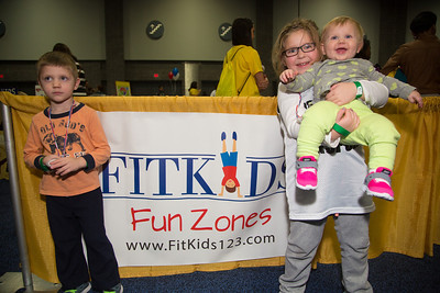Lucas (age 4), Maggie (7) and Lucy from Chantilly VA enjoy the fun and games at the FitKids Fun Zones.