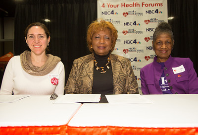 "Participating in a panel on ""Caring for the Elderly"" are Stephanie Chong (Resources for Aging), Thomye Cave (Downtown Cluster's Geriatric Day Care Center) and Dr. Gertie L. Hurley (Walk in Faith and Fitness)"