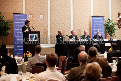 """Brian Reisinger, left to right, Jeff Davis, Steven Eisen, Ron Samuels, Timothy Johnson, and Commissioner Greg Gonzales Thursday during the Nashville Business Journal's """"Banking's New Chessboard"""" panel discussion. The discussion was sponsored by KPMG at Loews Vanderbilt Hotel Nashville. Nathan Morgan 